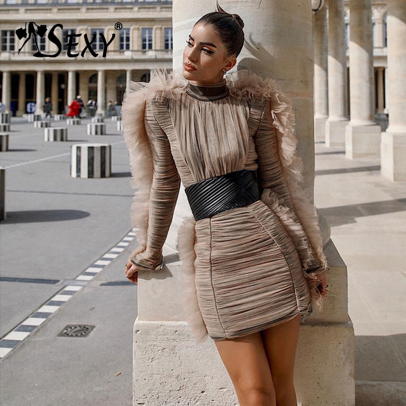 Gosexy 2019 nouvelles femmes mode robe dentelle maille col roulé Sexy robes de soirée à manches longues gaine dame Club robe moulante