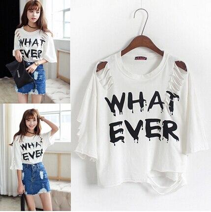 feef4b9d Summer tshirts for women korean fashion what ever letter printed tops shirt  ladies casual sexy cut out tee shirt WS10131