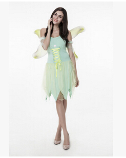 free shipping Halloween costume Adult green beautiful faery elves The angel put role play clothes Wonderful fairy suit free size