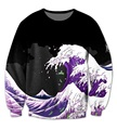 Real USA Size Purple Wave Dirty Sprite 3D Sublimation print Crewneck Sweatshirts streetwear plus size