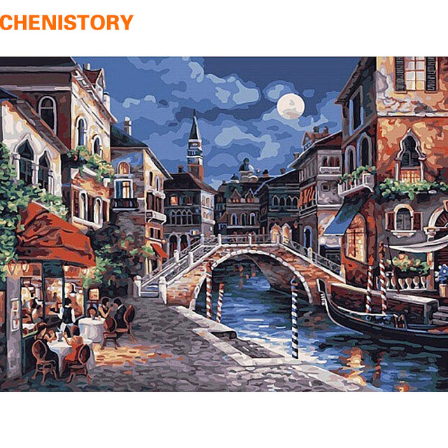 CHENISTORY Traditional Moonlight Town DIY Painting By Numbers Kit Acrylic Paint By Yourselve With Frame For Unique Wall Gift