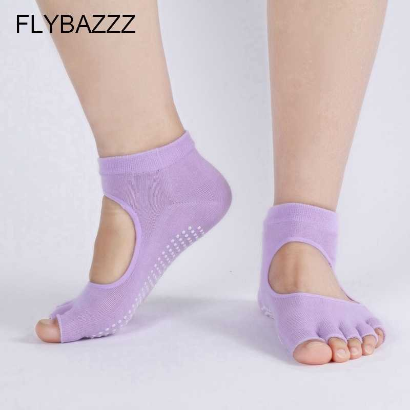 Women Backless Yoga Socks Half Toe Non Slip Ladies Massage Sport Socks Half-fingers Cotton Warm Exercise Running Hose Socks