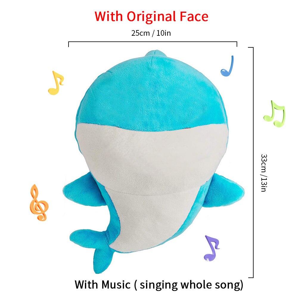 De dibujos animados suave bebé juguetes tiburón con música lindo bebé tiburón de peluche de juguete muñeca cantando la canción de inglés para regalo los niños de la muchacha