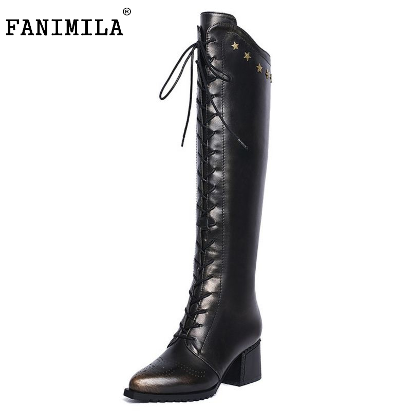ФОТО Ladies Real Genuine Leather Over Knee Long Boots Women Thick Heel Zipper Shoes Fashion Lace Up Heeled Shoes Size 34-42