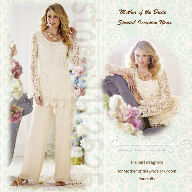 Amp1010 2 Charming Lace Wedding Pant Suits 2pc Ivory Pants Dresses Chiffon Elastic Waist