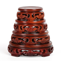 8 15cm Diameter Red Sandalwood Pierced Vase Base Carved Bat Pattern Flower Vase Stone Teapot Mahogany