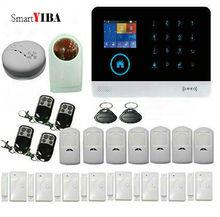 SmartYIBA WIFI 3G Wireless Home Alarm Strobe Siren System APP Control Multi Language RFID Alarm Motion Sensor Smoke Alarm Kits