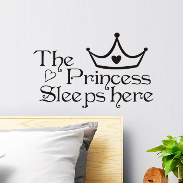 The Princess Sleeps Here Wall Stickers For Girls Room