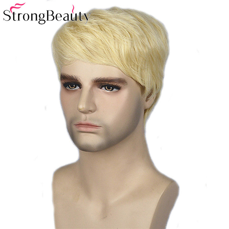 Image 3 - Strong Beauty Gold Blonde Men Wigs Synthetic Wig Short Hair Body Wave Wigs    -