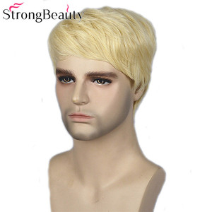 Image 3 - Strong Beauty Gold Blonde Men Wigs Synthetic Wig Short Hair Body Wave Wigs