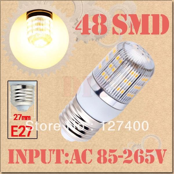 E27 Warm White 48 LED SMD Home Corn Bulb LED Light Lamp 85-265V 110V 220V 230V With Cover 3528