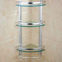Bathroom shelf tempered glass tripod three tier bathroom towel storage rack bathroom corner rack wall hole LO5151114