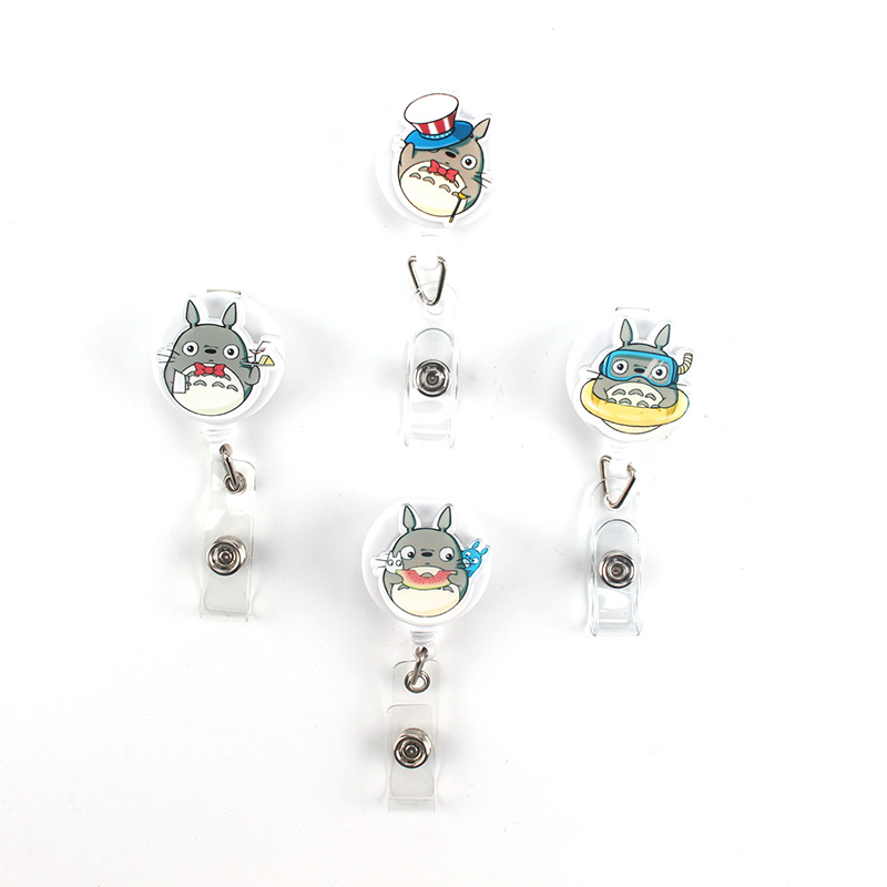 2017 High Quality Acrylic Nurse Retractable Badge Reel ID Badge Clip Cute Totoro Name Tag Card Holder Reel For School Office