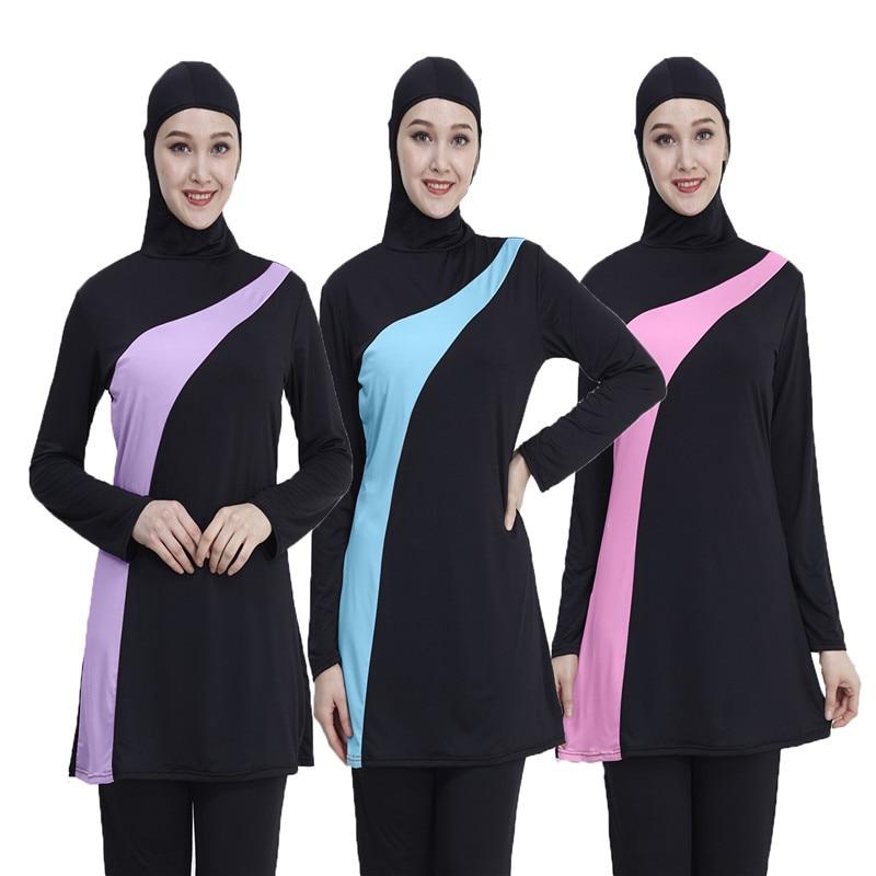 2019 Long Sleeve Muslim Swimsuit Plus Size Swimwear Women Muslim Swimwear Nylon Burkini Swimming Maillot De Bain Femme Musulmane