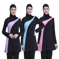 2019 de manga larga musulmán traje de baño de talla grande bañador para mujer musulmana Nylon Burkini maillot de natación de bain mujer musulmana
