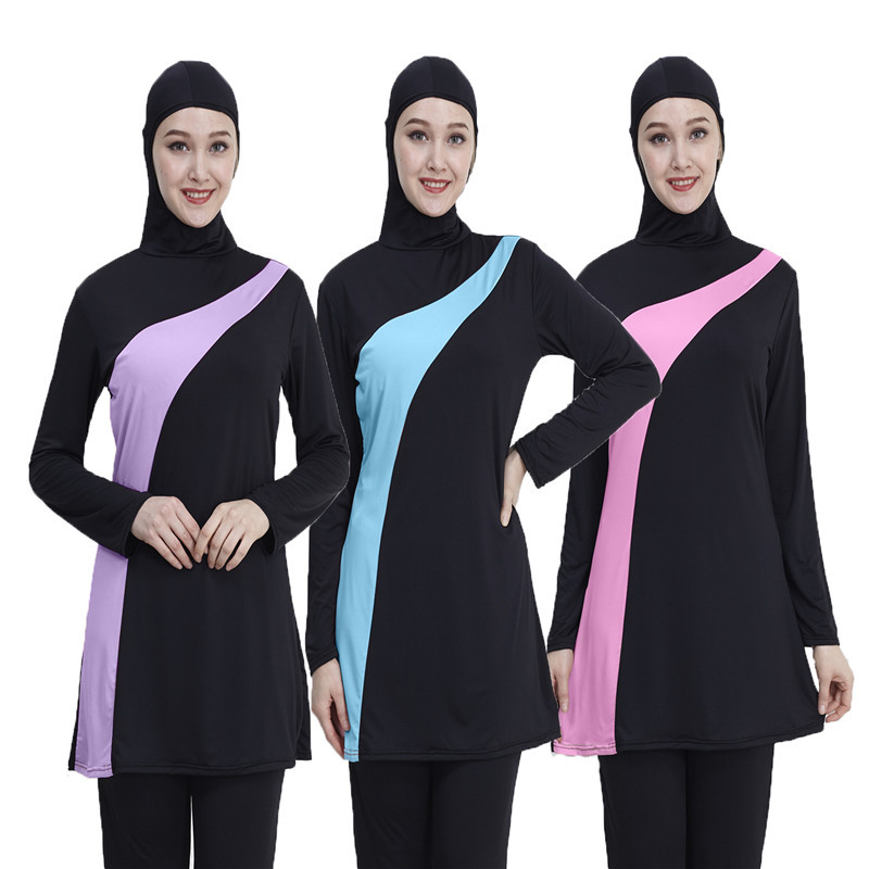 2019 manga longa muçulmano maiô plus size mulheres banho muçulmano náilon burkini natação maillot de bain femme mussulmane