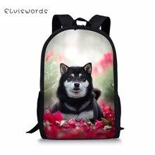 цены ELVISWORDS Fashion Children's School Backpack  Kawaii Animal Kids Book Bags  Shiba Inu Dogs Toddler School Bags Women Backpacks