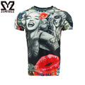 Mens 3D Printed Marilyn Monroe Lifelike Short Sleeve T-shirt Funny Fitness Tops Compression Crew Neck Male Crossfit Tee
