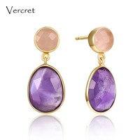 Vercret Romantic Pink Quartz Dangle Earrings Aromantic 18k Gold 925 Sterling Silver Dangle Earrings Jewelry Earring