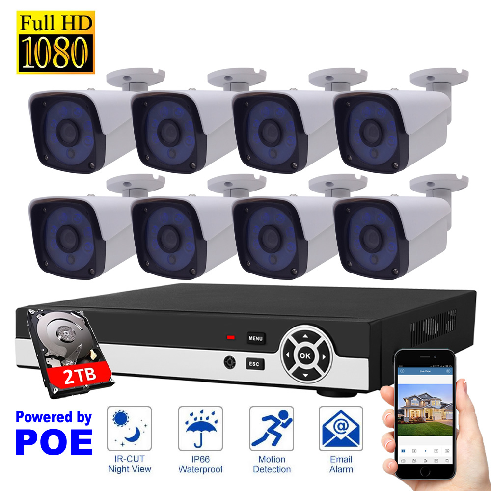 8CH Camera Security System POE 2TB HDD 1080P IP Camera System Motion Detection HDMI Home ...