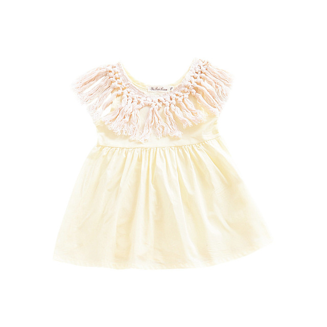ab6390d3219 INS Hot Sale Europe style 2018 Summer Baby Girls Dress Toddlers Tassel  Dresses O-neck Princess Dress Cotton Children clothing