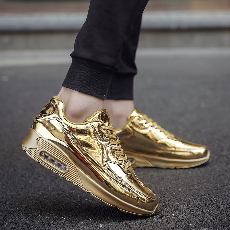 Lotus Jolly 2018 Men Gold Casual Shoes Breathable Man Casual Shoes Zapatillas Hombre Comfortable Bright Flat Shoe Chaussures