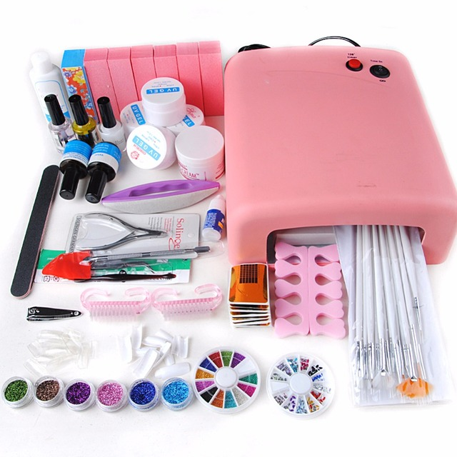 36W Nail Dryer UV Lamp UV Gel Kit for Manicure Oil Glitter Nail Top ...