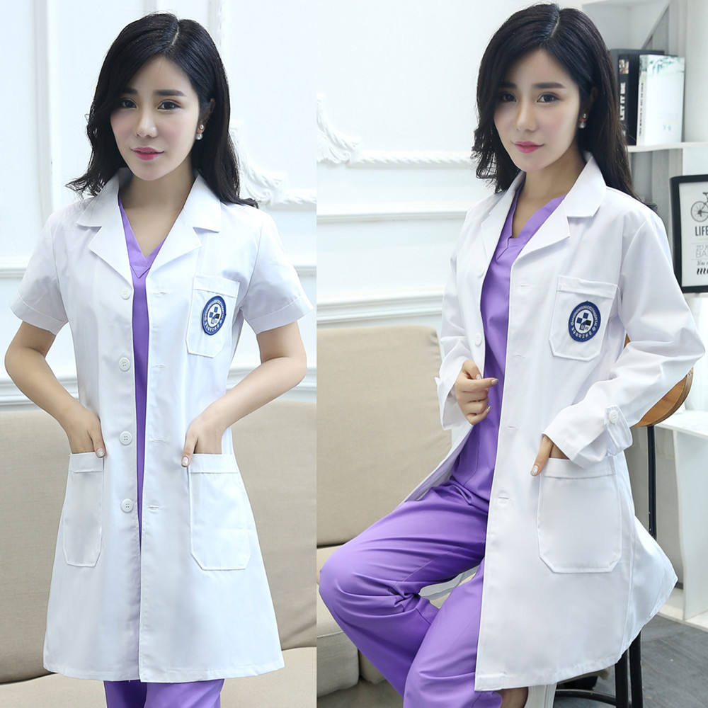 White Coat men&women Doctor DressSemi-permanent Korean version of the long-sleeved doctor clothes, lab coat, nurse suit, formal wear