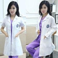 Biały Płaszcz mężczyźni i kobiety Lekarz DressSemi-stałe Koreańska wersja z długim rękawem ubrania lekarza, fartuch laboratoryjny, kostium pielęgniarki,