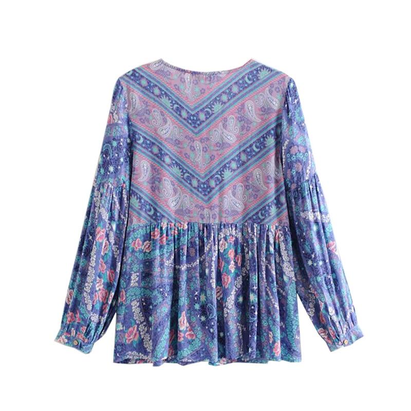 Corbata Ropa Borla Moda Boho Camisas De Blusas Cuello Floral Impresión Picture Mujer Vintage As Playa 2019 Mujeres Chic V Con Verano En 0xww7qOXB