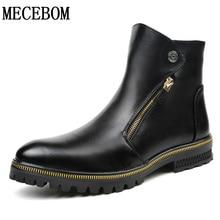 Winter men's short plush boots warm snow boots patent leather shoes zip casual men shoes Zapatos Hombre size 38-44 LA993M