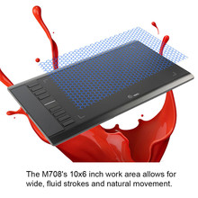 Cheaper Ugee M708 Digital Graphics Tablet for Drawing With digital drawing tablet Rechargeable Pen 2048 Level with glove