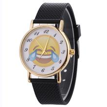 Neutral Cute Emoji Pattern Clocks Fashion Women Men Watches Leather Band Black Quartz Wrist Watch Creative July19