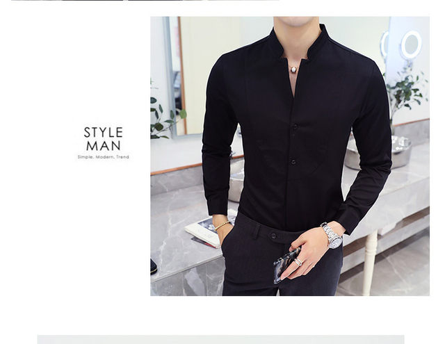Fall Winter Stand Collar Mens Long-sleeved Dress Shirts Black Red White Slim Elegant Youth Male Business Wedding Formal Shirt 29