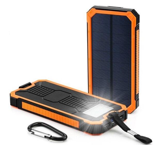 Cargador de batería externa solar 20000 mah cargador de teléfono portátil Dual USB Powerbank para iPhone 8 XS max Xiaomi 7 8 plus