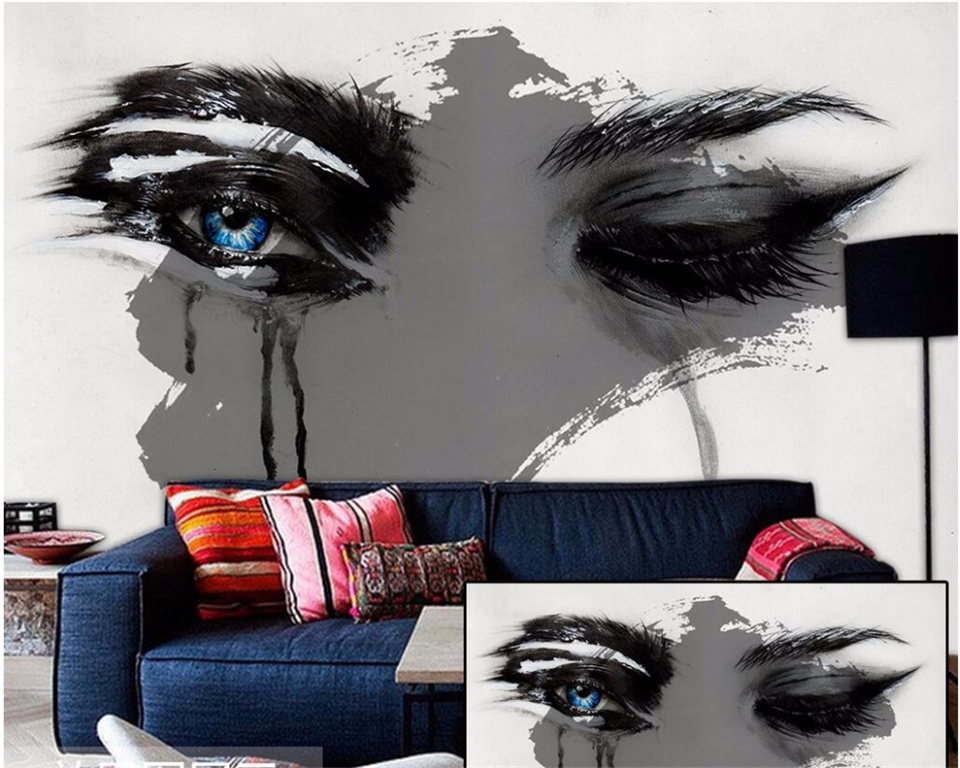 beibehang Custom 3d wallpaper beautiful eyes desolate Nordic modern fashion hand painted simple decorative painting