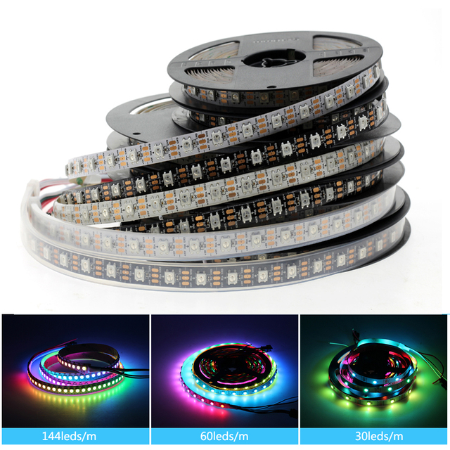 5V Led Strip Light WS2812B 1 2 3 4 5 M 5 V RGB Full Color Black White PCB IP20 IP65 IP67 Waterproof WS2812 WS2812B Ambilight
