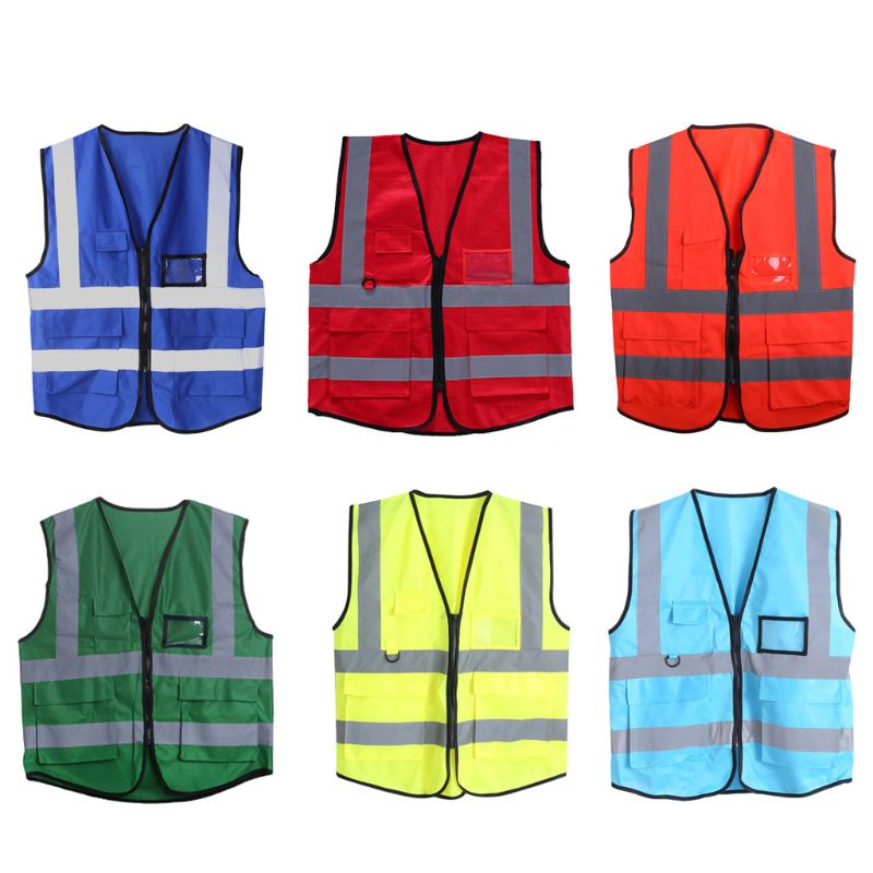 Hi-Vis Safety Vest With Zipper Reflective Security Waistcoat 5 Pockets