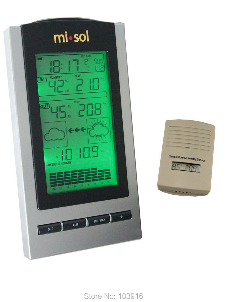 ФОТО Free shipping wireless Weather Station, wireless thermometer with Outdoor Temperature and humidity sensor LCD display, Barometer