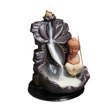 Incensory Buddha statue Incense cones Ceramic Censer Incense holder Burner Zen Backflow Incense burner smoke+10 Incense Cones hem incense cones precious patchouli 10 packs of 10 100 cones