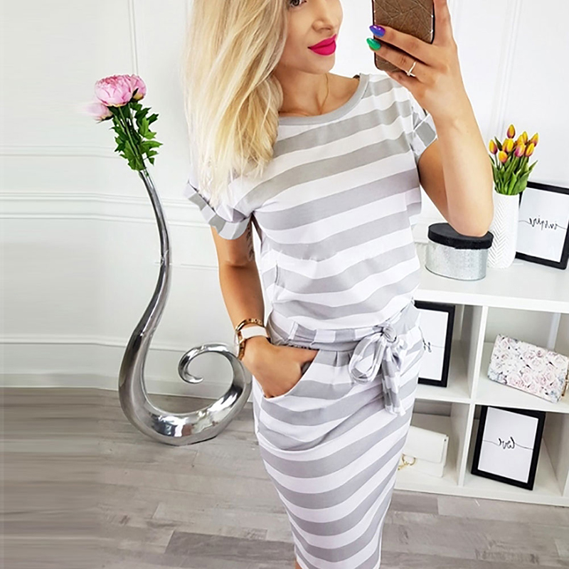 Summer Womens Tight Fitting Striped Short Batwing Sleeve Dress Ladies Cotton Casual Sashes Striped Evening Party Dress in Dresses from Women 39 s Clothing