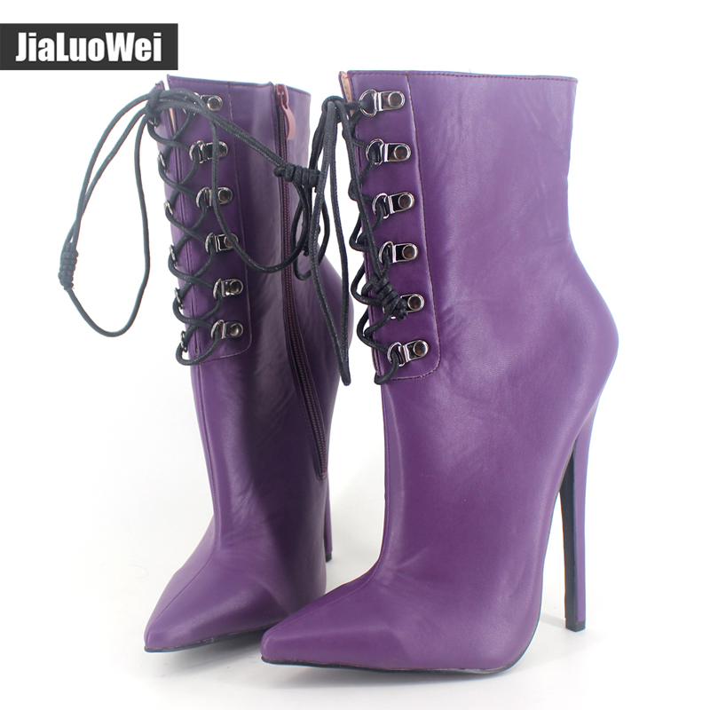 jialuowei Ladies Sexy Fetish Exotic boots 18CM Thin high-heeled Boots PU leather pointed toe Stiletto Cross-tied Ankle Boots цена и фото