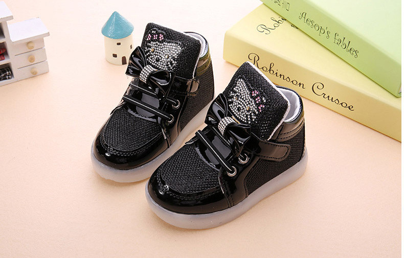 Girls shoes baby Hook Loop led shoes kids light up glowing sneakers toddler Girls princess children shoes girls with light 10