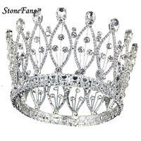 StoneFans European CZ Crown And Tiara For Women Clear Crystal Leaf Plant Wedding Hair Accessories Anniversary Jewelry Women H038