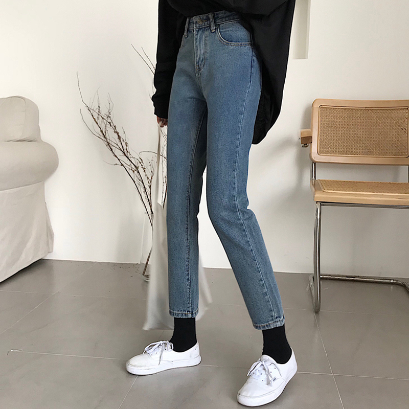 Wide-legged   Jeans   Women 2019 New Korean Edition Stitching Loose Wool Edge High-waist Straight-barrel Nine-cent   Jeans   MW140