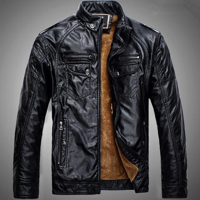 2016 Leather Jacket Men Blue Motorcycle PU Leather Jacket Warm Velvet Coat Mens Clothes P4080