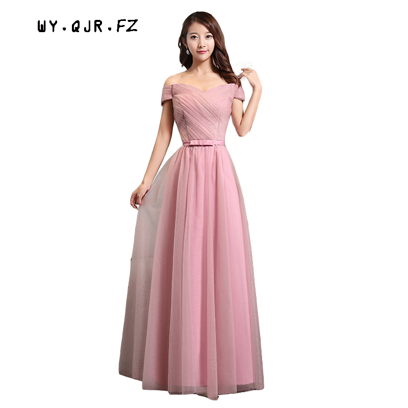 SJZL98YZ#Off Shoulder lace up long   dress   sisters annual new 2017 spring banquet bride married toast   Bridesmaids     dresses   wholesa