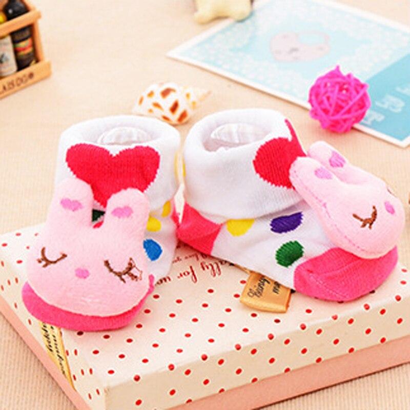 Luxury 1 Pair Cute Rabbit Pattern Infant Newborn Socks Winter 100% Cotton Sock Accessorie Non-slip Socks Suitable 0-18 Month