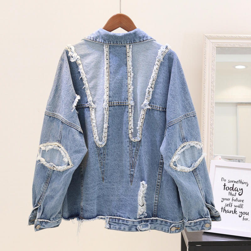 2020 Autumn New Womens Jean Coat Fashion Patch Designs Sequins Denim Jacket Girls Students Hole Raw Edge Jeans Coats Outwear