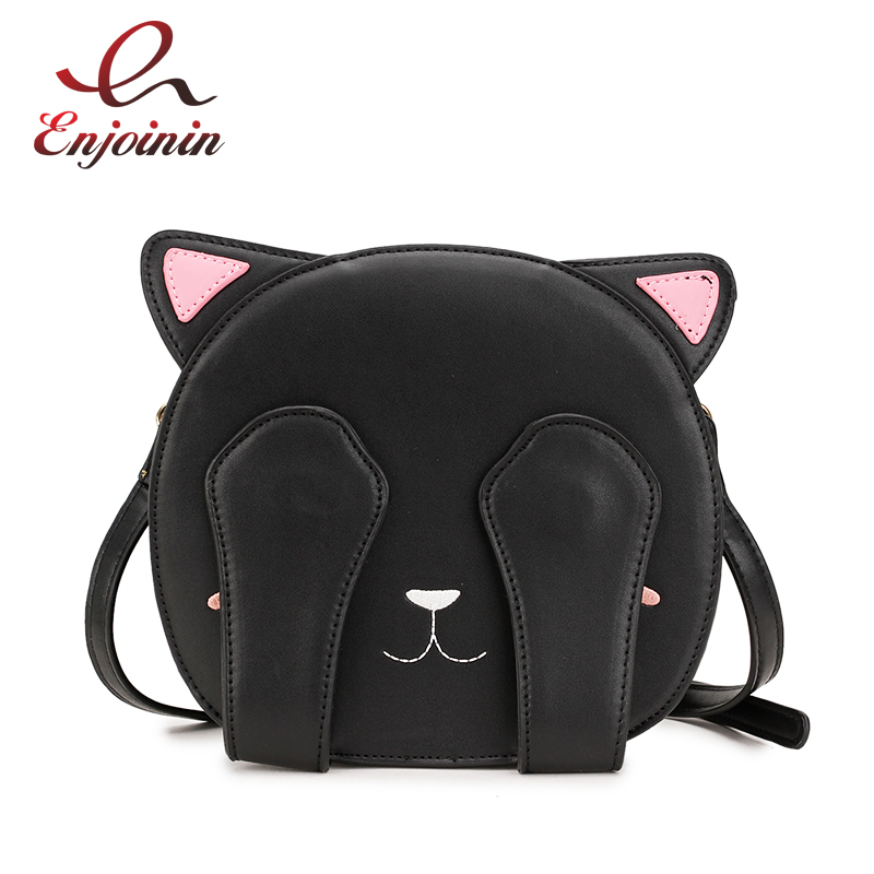 цена Fun Cute Face Cat Embroidered Fashion Round Ladies Shoulder Bag Handbag Casual Crossbody Mini Messenger Bag Girl's Purse Bolsa